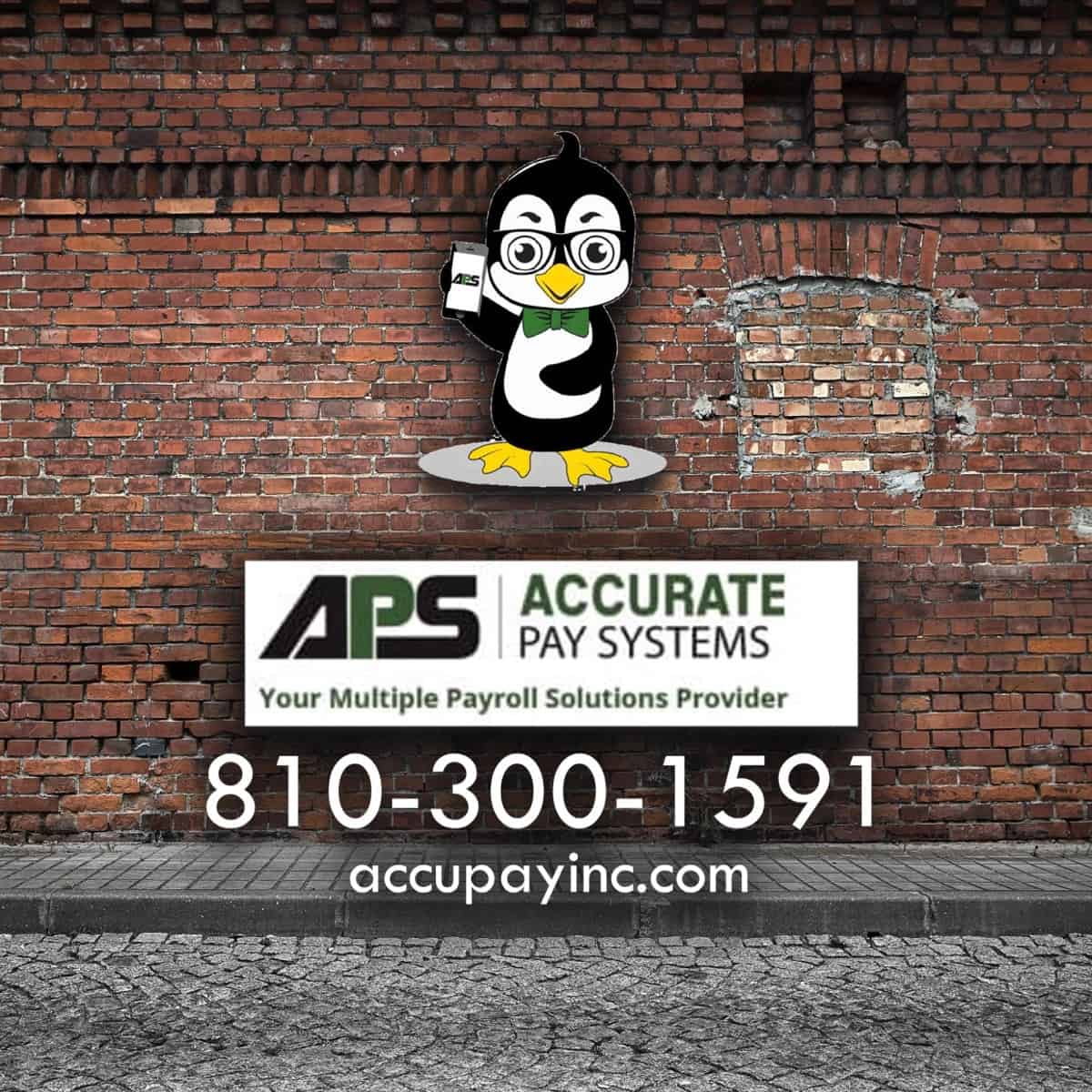 Accurate Pay Systems Inc Logo on brickwall
