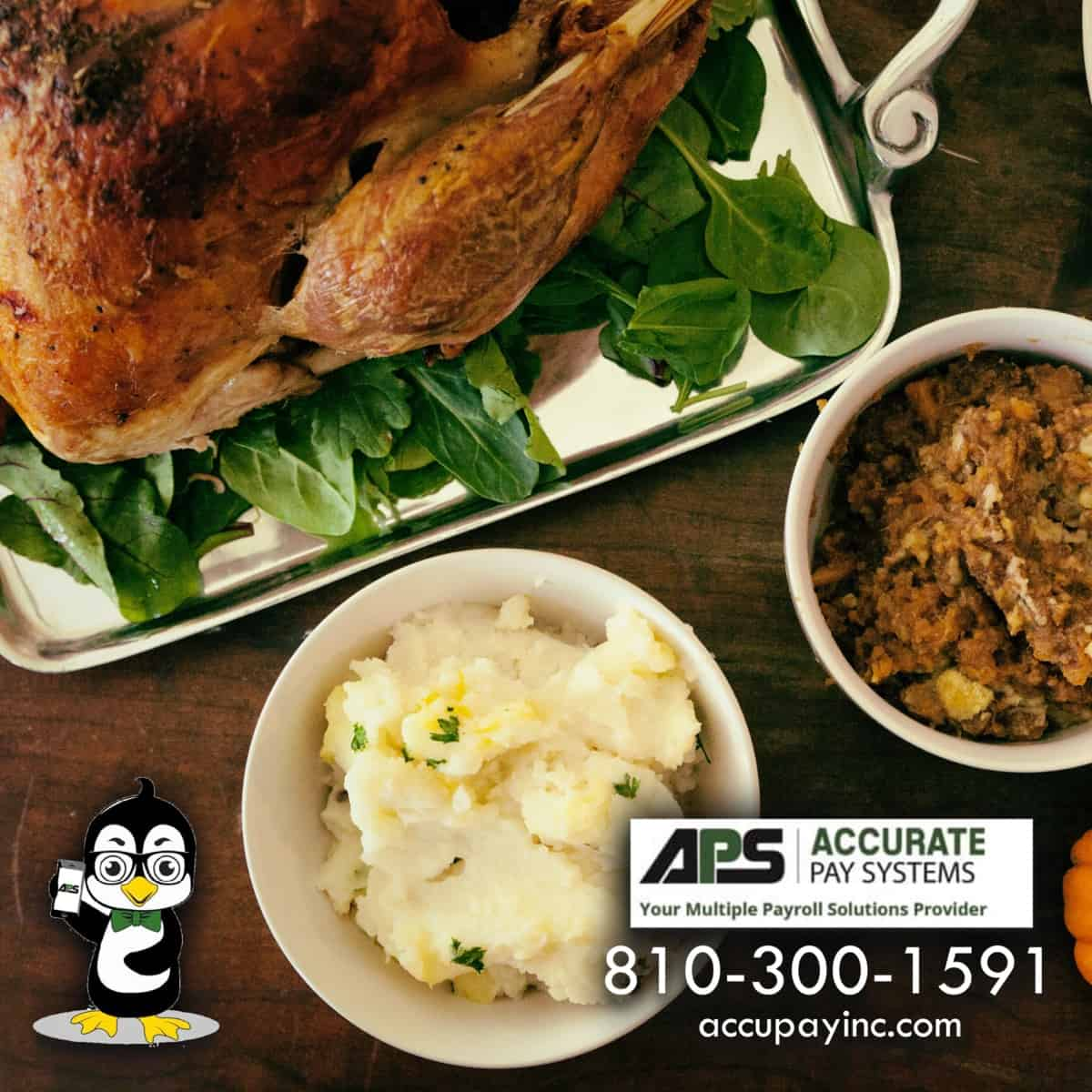 Thanksgiving Dinner with Accurate Pay Systems Logos