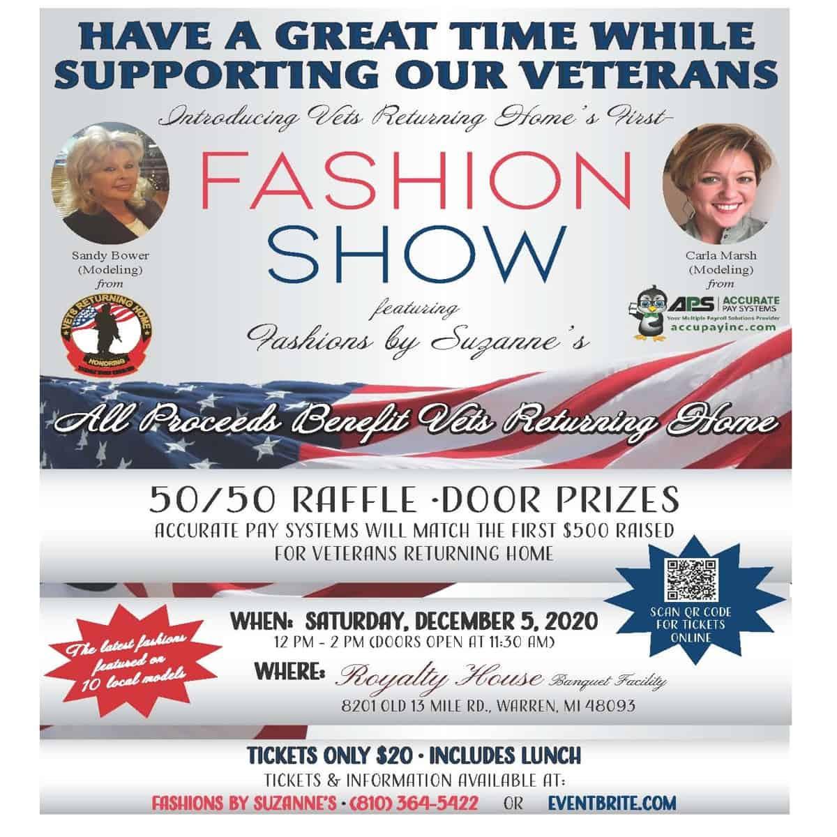 Vets Returning Home of Roseville Fashion Show and Lunch - December 5th, 2020