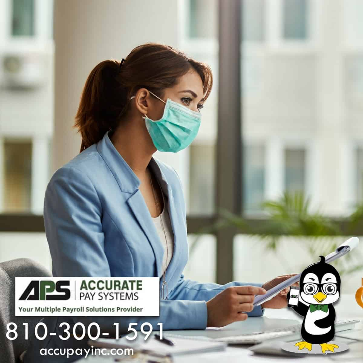 Business owner wearing PPE mask