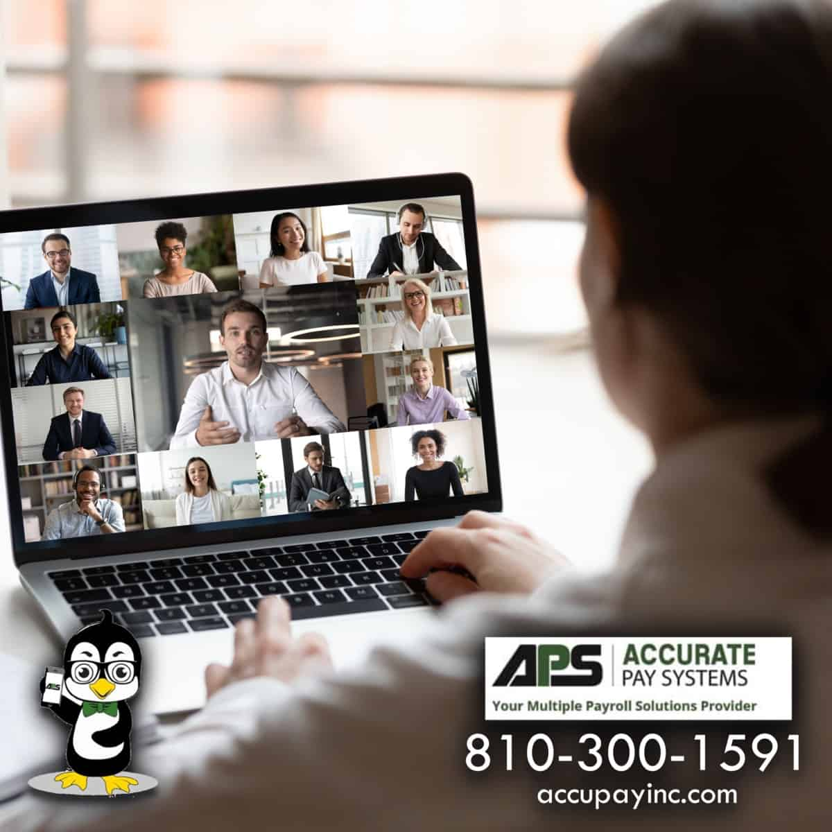 Remote virtual meeting from Accurate Pay Systems Inc.