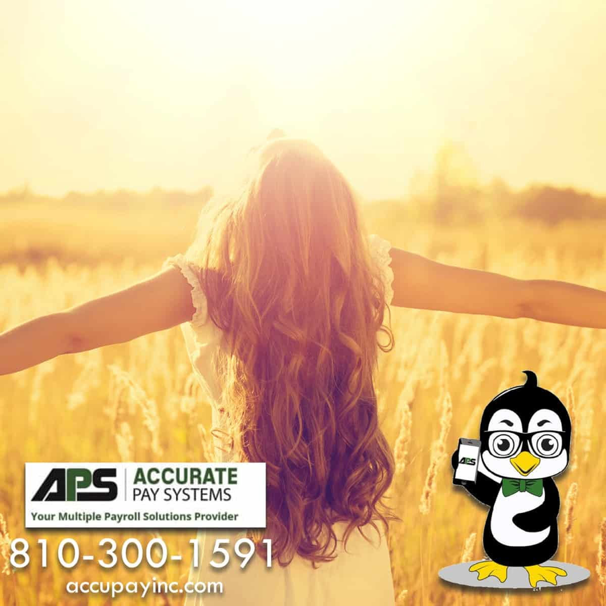 Girl enjoying day off from Accurate Pay Systems Macomb County Michigan Payroll Solutions