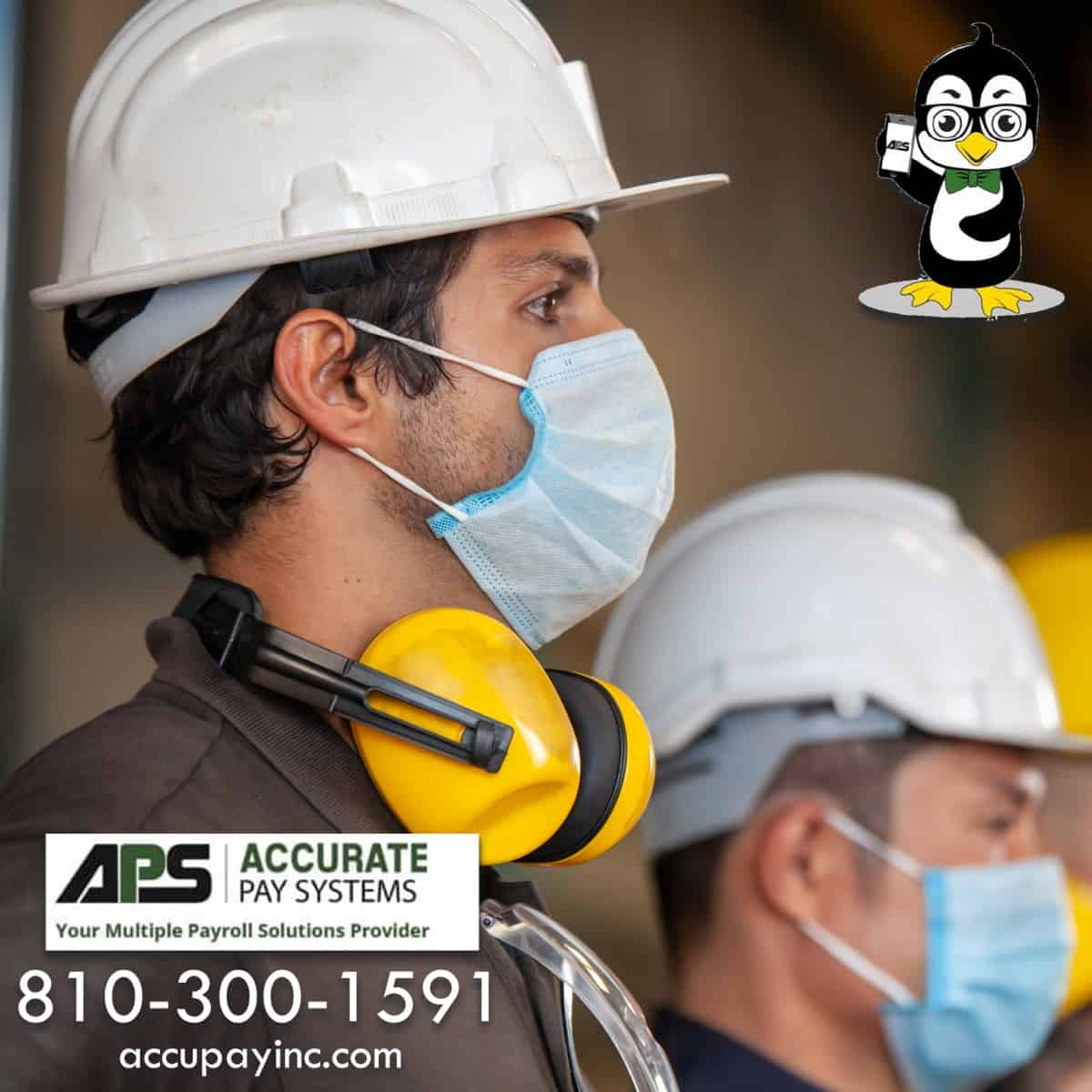 Employees in masks from Accurate Pay Systems