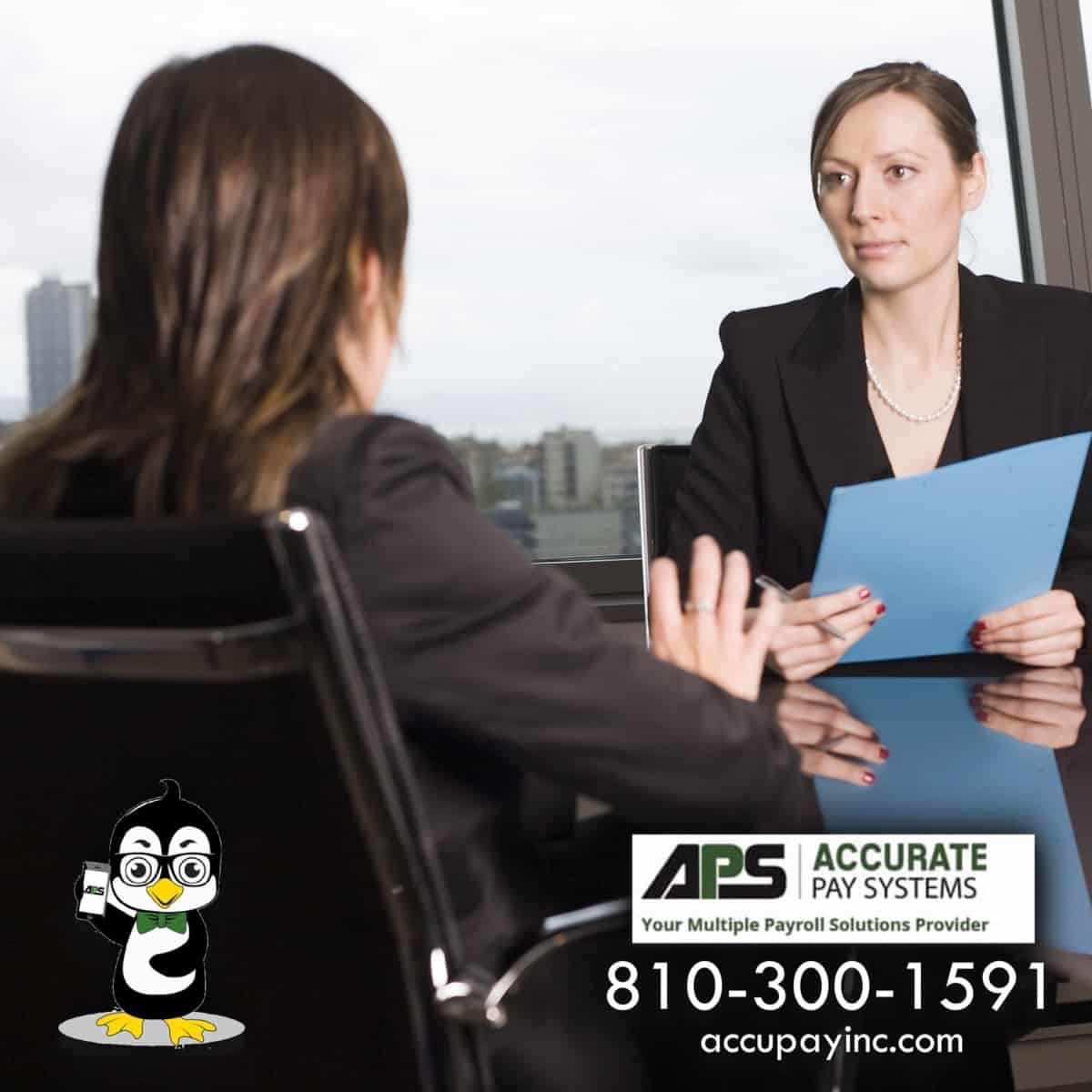 Exit interview performed by Accurate Pay Systems, Inc.